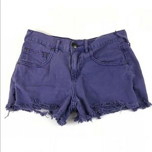 Free People Purple Distressed Raw Hem Jean Shorts
